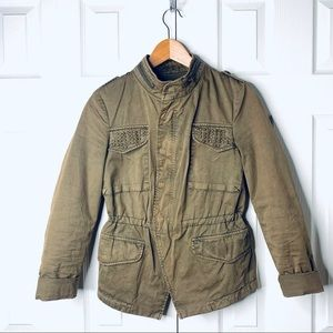 ZARA green fitted utility jacket